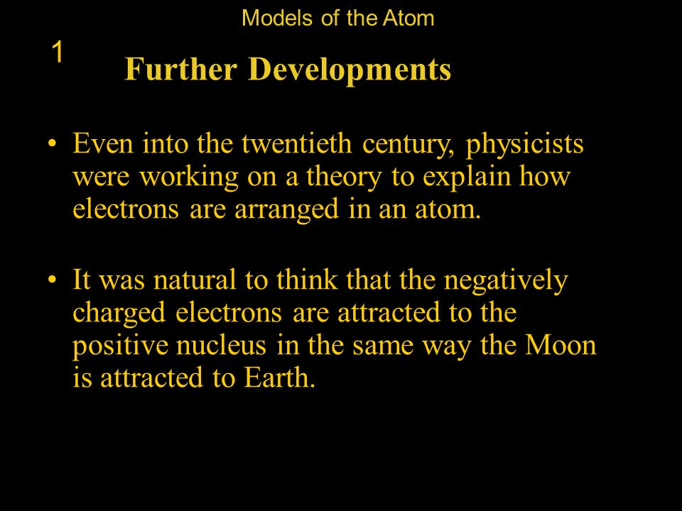 Models of the Atom 1. Further Developments.
