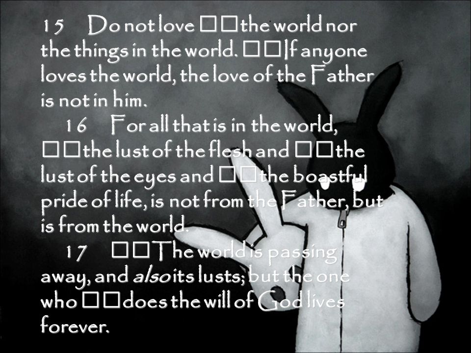 15 Do not love the world nor the things in the world