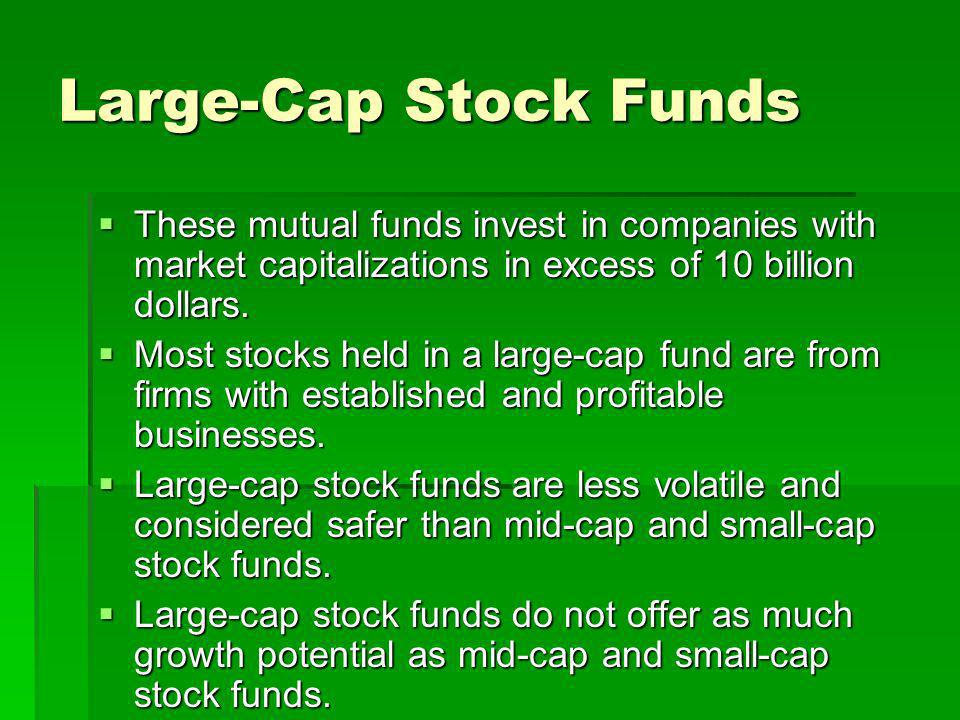 Large-Cap Stock Funds These mutual funds invest in companies with market capitalizations in excess of 10 billion dollars.
