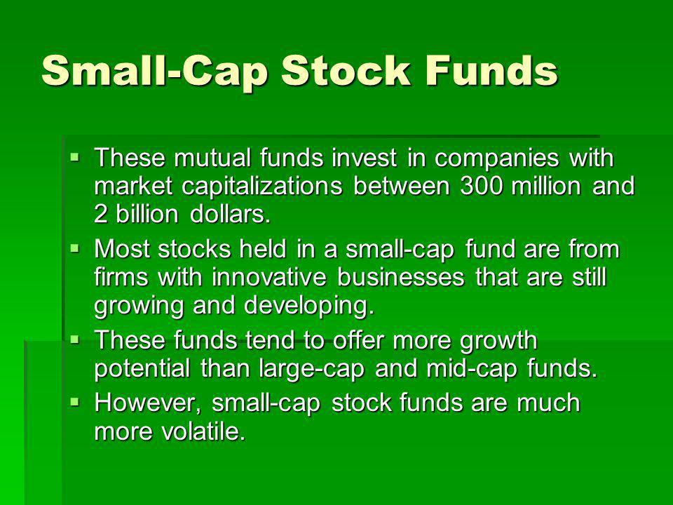 Small-Cap Stock Funds These mutual funds invest in companies with market capitalizations between 300 million and 2 billion dollars.