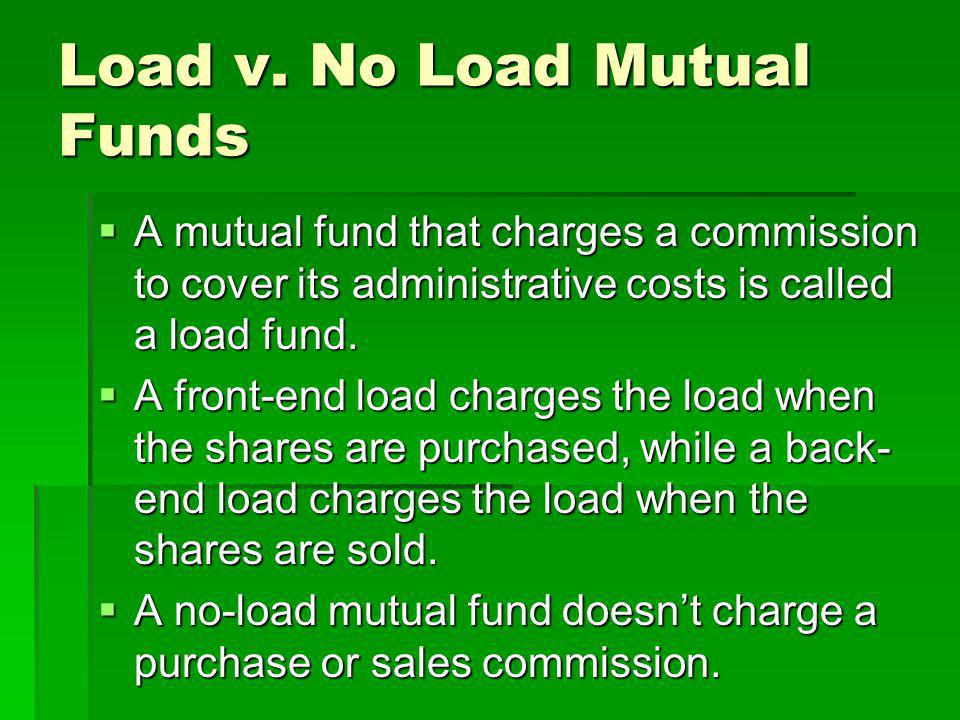 Load v. No Load Mutual Funds