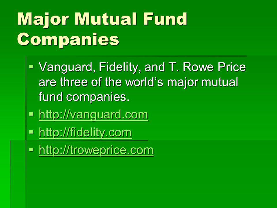 Major Mutual Fund Companies