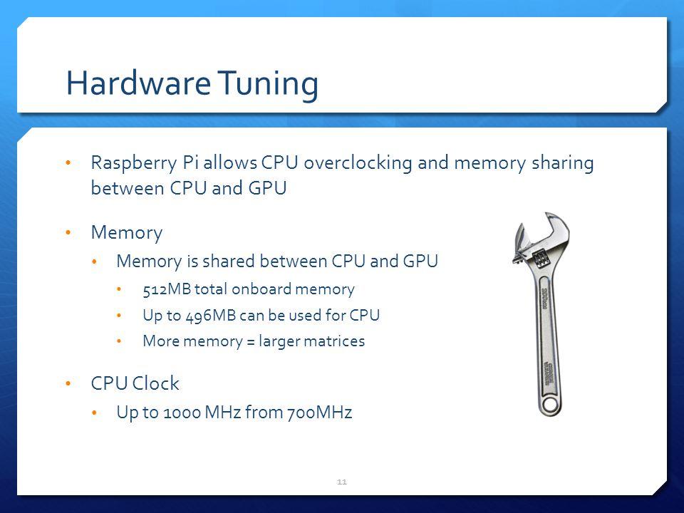 Hardware Tuning Raspberry Pi allows CPU overclocking and memory sharing between CPU and GPU. Memory.