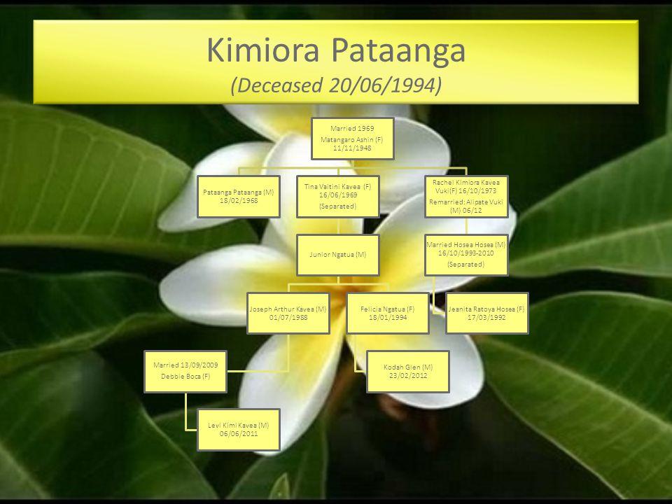 Kimiora Pataanga (Deceased 20/06/1994)
