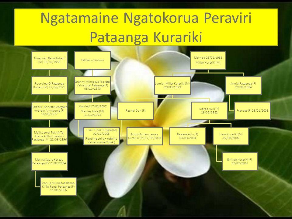 Ngatamaine Ngatokorua Peraviri Pataanga Kurariki