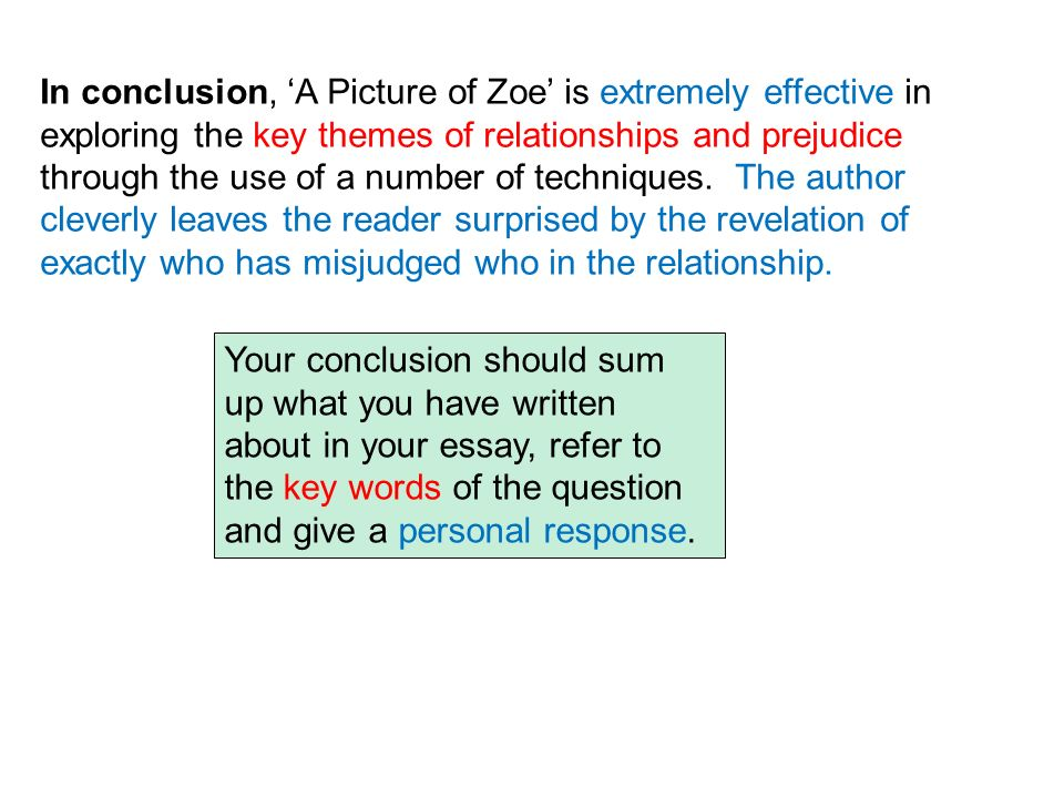 In conclusion, 'A Picture of Zoe' is extremely effective in exploring the key themes of relationships and prejudice through the use of a number of techniques. The author cleverly leaves the reader surprised by the revelation of exactly who has misjudged who in the relationship.