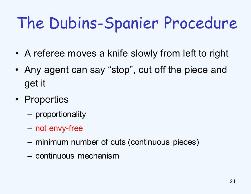 Envy-free procedures n = 2: cut-and-choose n = 3 n = 4 n ≥ 5