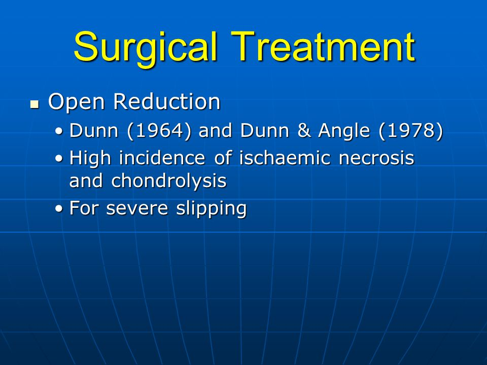 Surgical Treatment Open Reduction Dunn (1964) and Dunn & Angle (1978)
