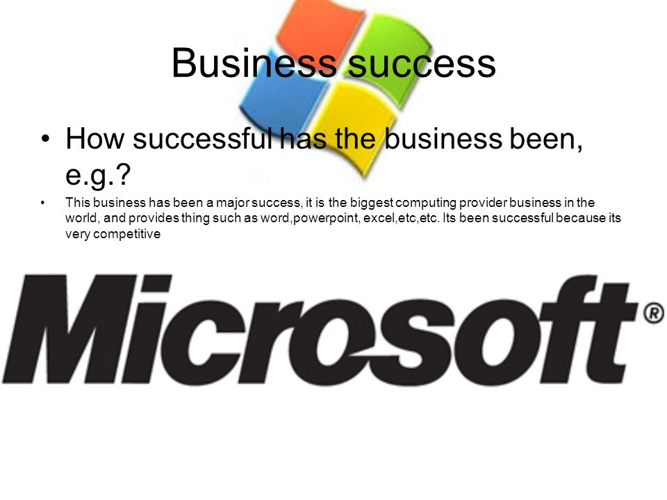 Business success How successful has the business been, e.g.