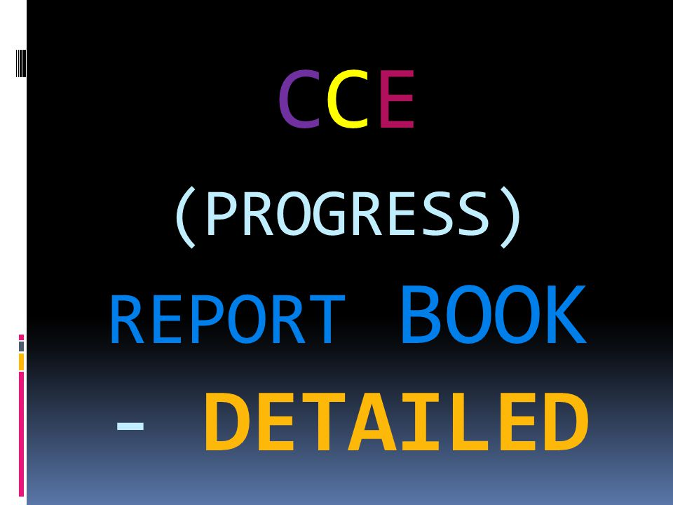 CCE (PROGRESS) REPORT BOOK - DETAILED