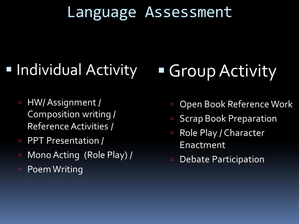 Group Activity Language Assessment Individual Activity