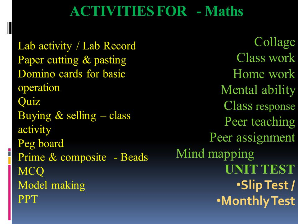 ACTIVITIES FOR - Maths Collage Class work Home work Mental ability