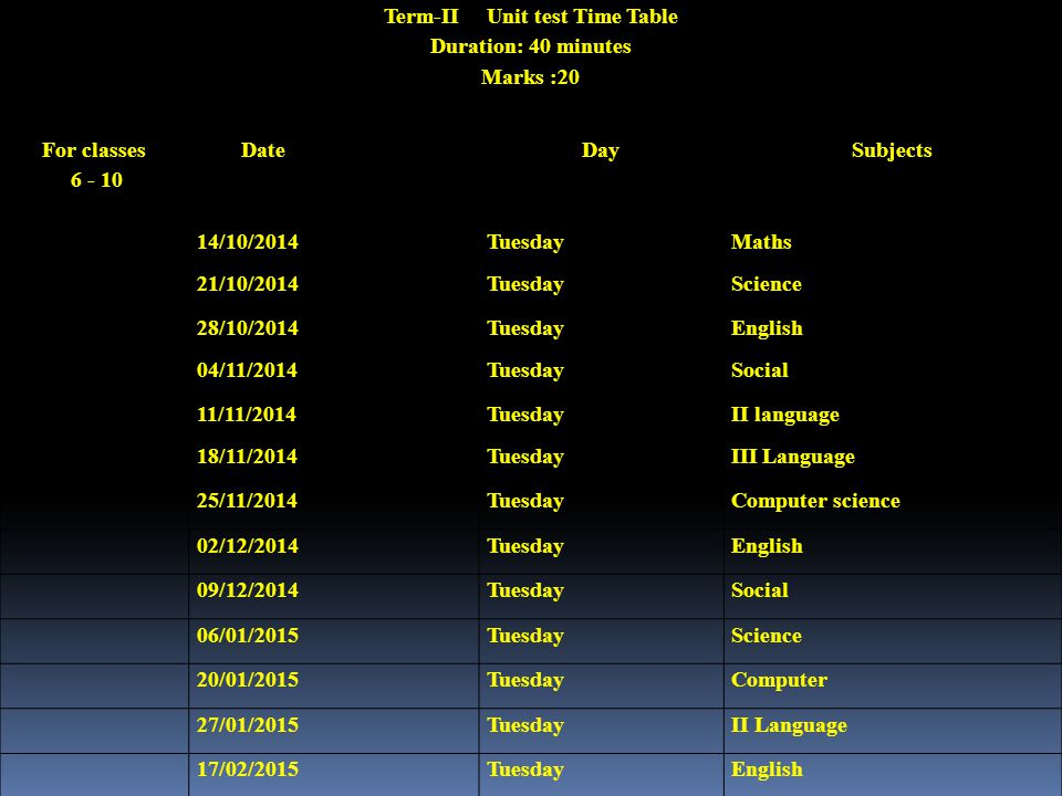 Term-II Unit test Time Table