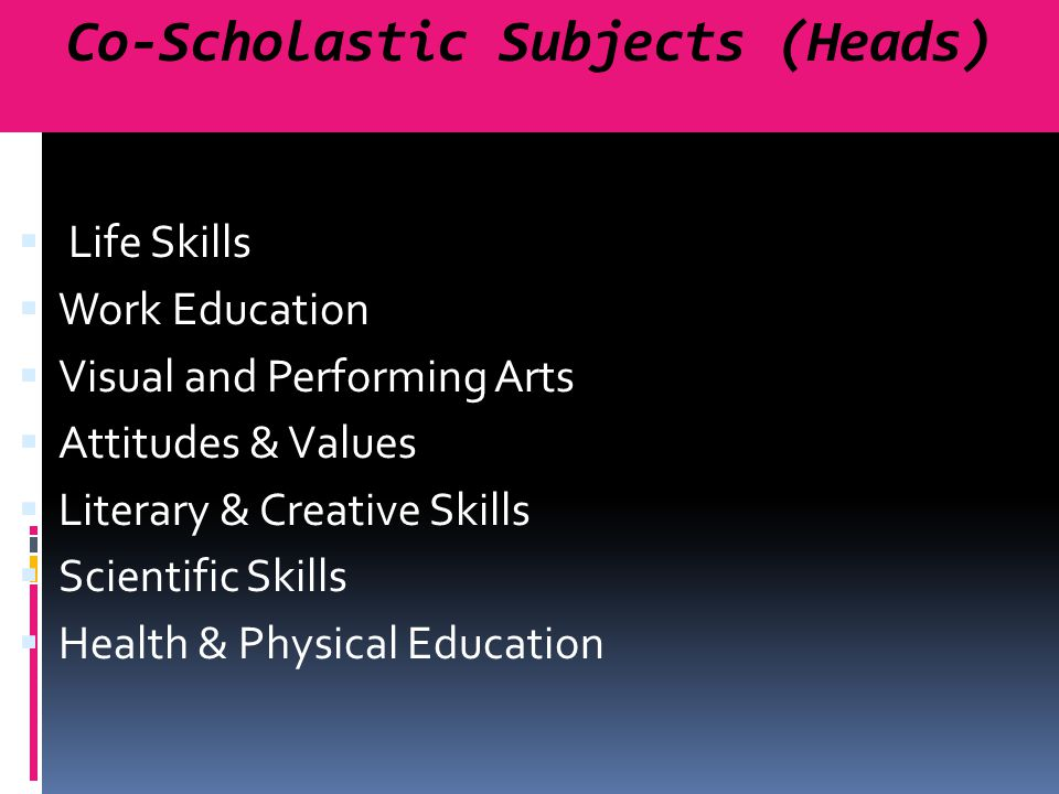 Co-Scholastic Subjects (Heads)