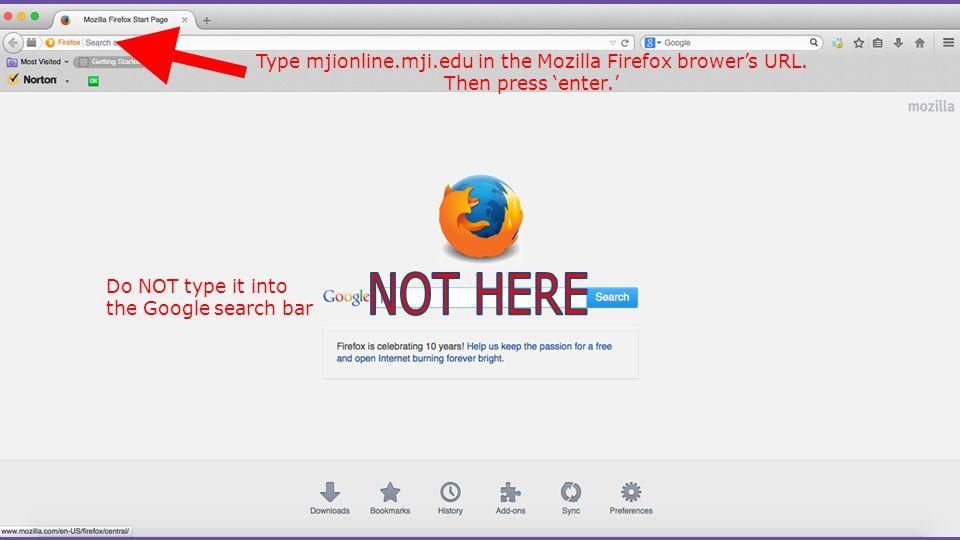 Type mjionline.mji.edu in the Mozilla Firefox brower's URL.