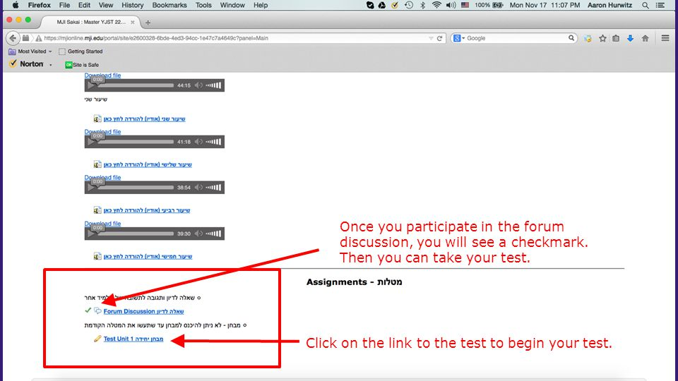 Click on the link to the test to begin your test.
