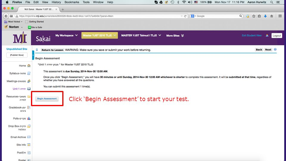 Click 'Begin Assessment' to start your test.