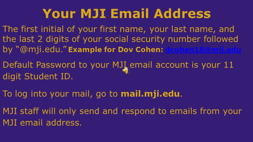 Your MJI Email Address