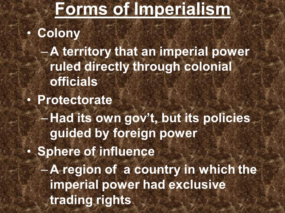 Forms of Imperialism Colony