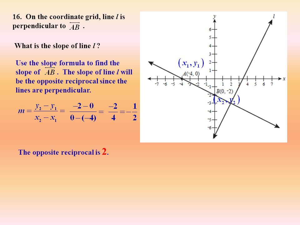 16. On the coordinate grid, line l is perpendicular to .