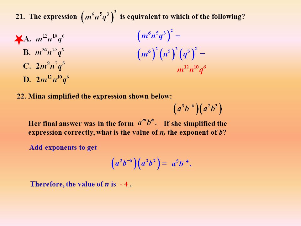 21. The expression is equivalent to which of the following