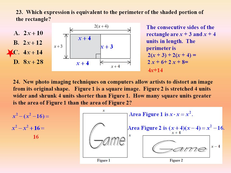 23. Which expression is equivalent to the perimeter of the shaded portion of the rectangle