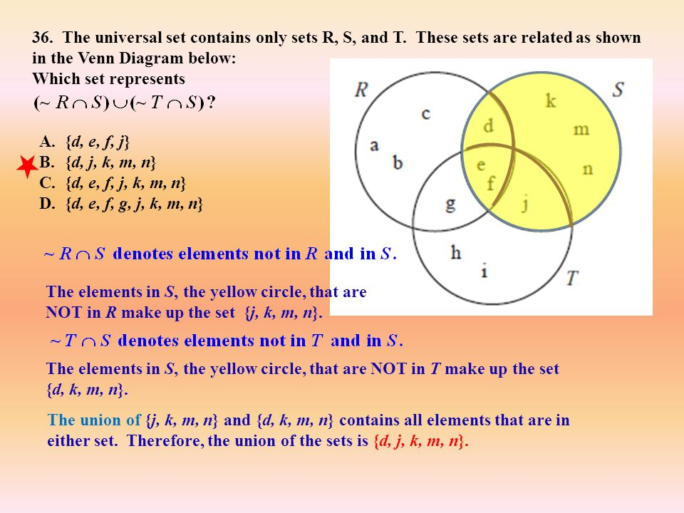 36. The universal set contains only sets R, S, and T