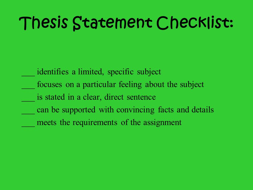 Thesis Statement Checklist: