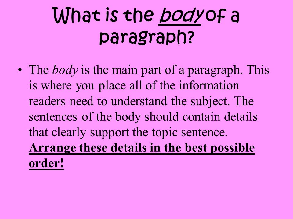 What is the body of a paragraph