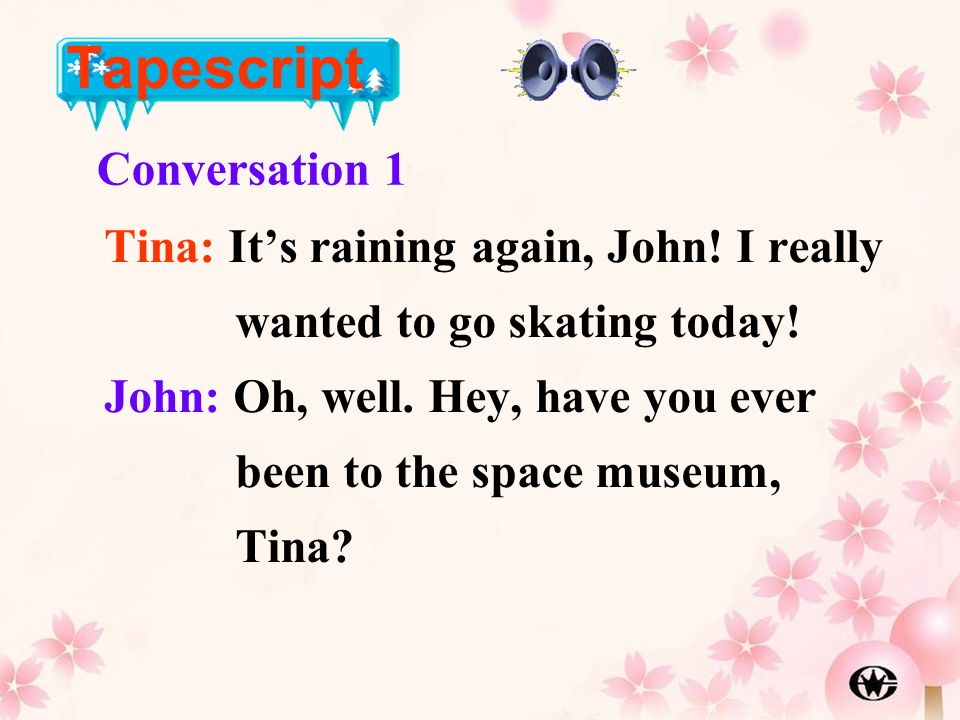 Tapescript Conversation 1