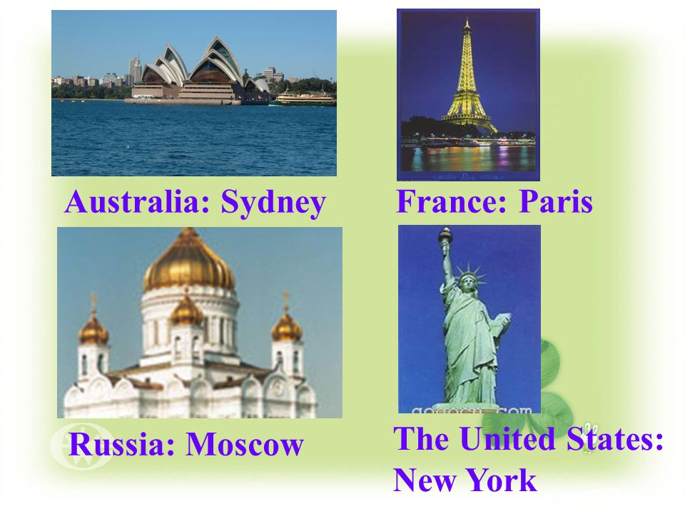 Australia: Sydney France: Paris The United States: New York Russia: Moscow
