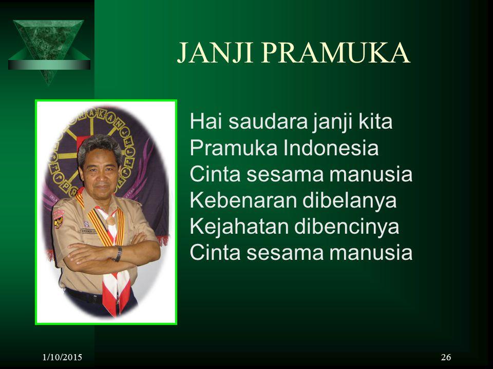 JANJI PRAMUKA Hai saudara janji kita Pramuka Indonesia