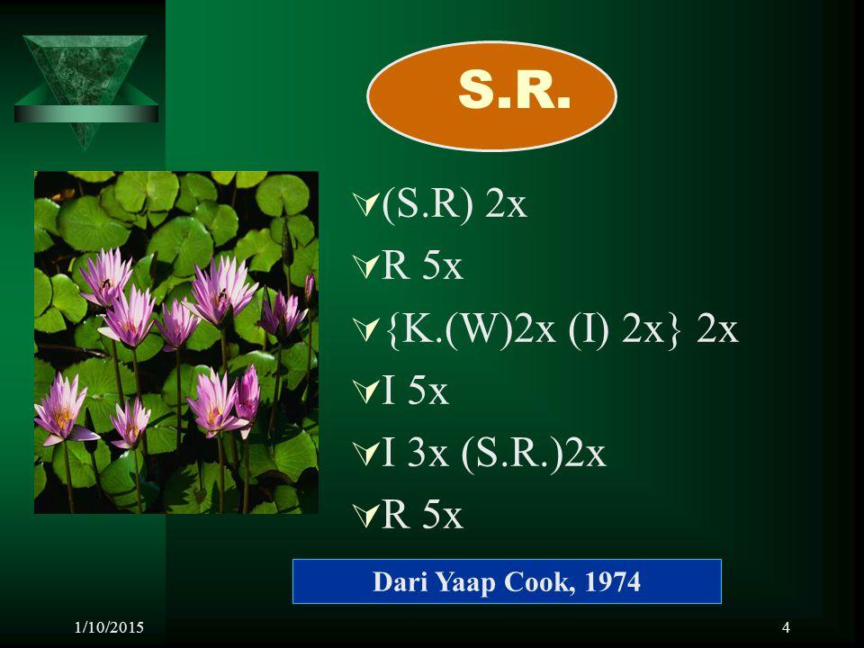 S.R. (S.R) 2x R 5x {K.(W)2x (I) 2x} 2x I 5x I 3x (S.R.)2x