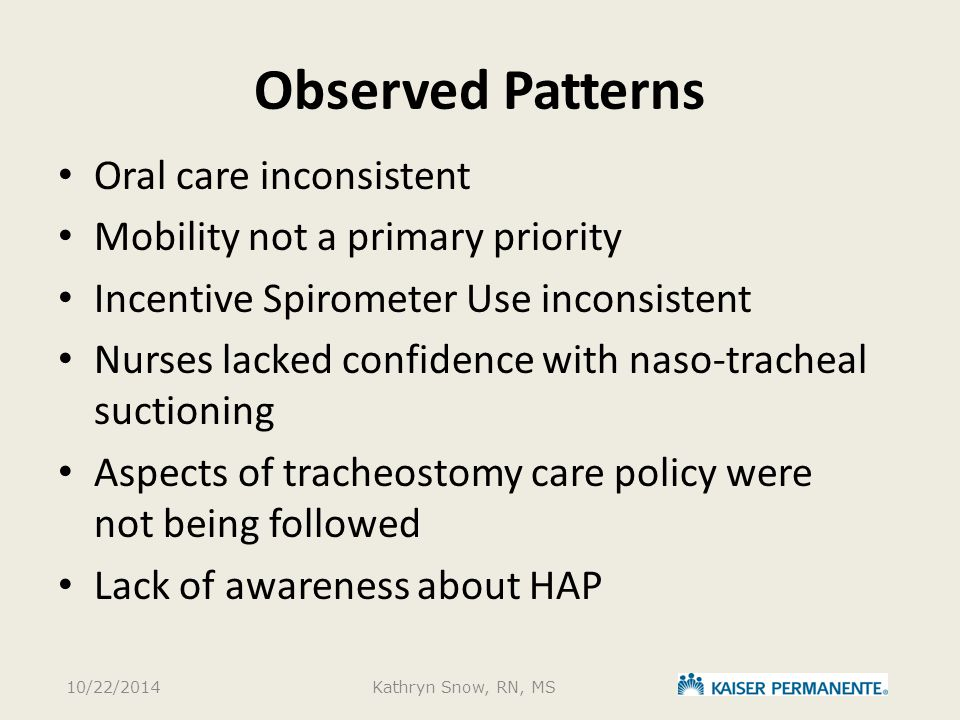 Observed Patterns Oral care inconsistent