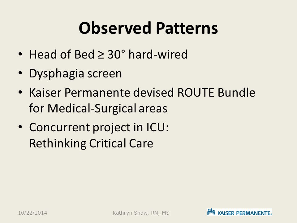 Observed Patterns Head of Bed ≥ 30° hard-wired Dysphagia screen