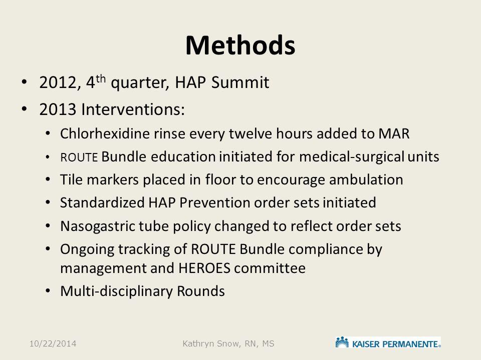 Methods 2012, 4th quarter, HAP Summit 2013 Interventions: