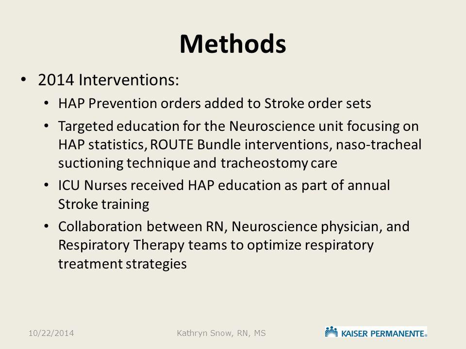 Methods 2014 Interventions: