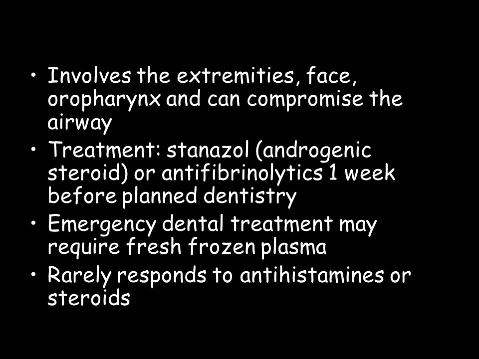 Involves the extremities, face, oropharynx and can compromise the airway