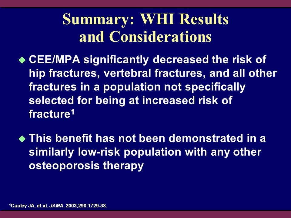 Summary: WHI Results and Considerations