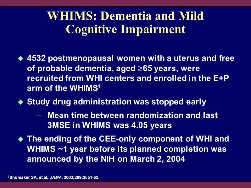 WHIMS: Dementia and Mild Cognitive Impairment