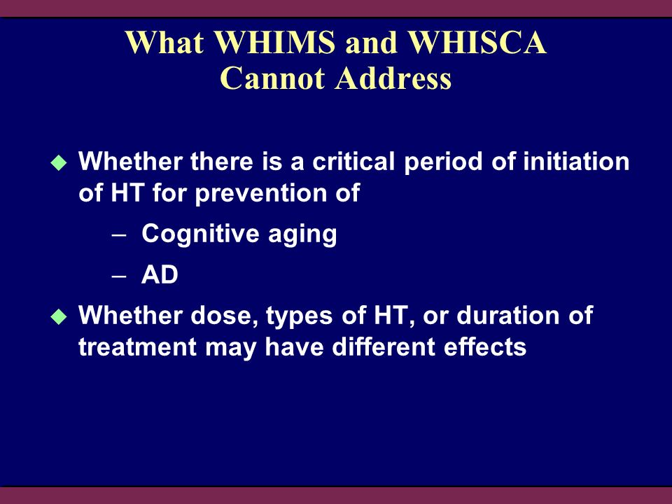 What WHIMS and WHISCA Cannot Address