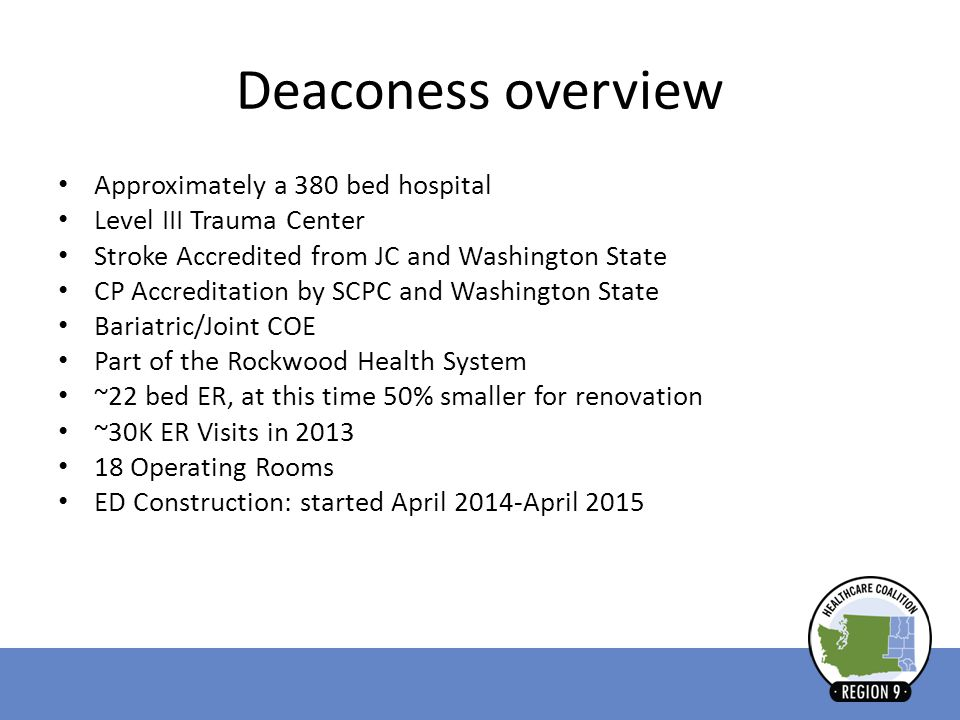 Deaconess overview Approximately a 380 bed hospital