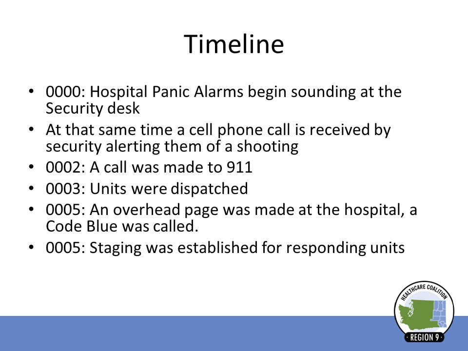 Timeline 0000: Hospital Panic Alarms begin sounding at the Security desk.