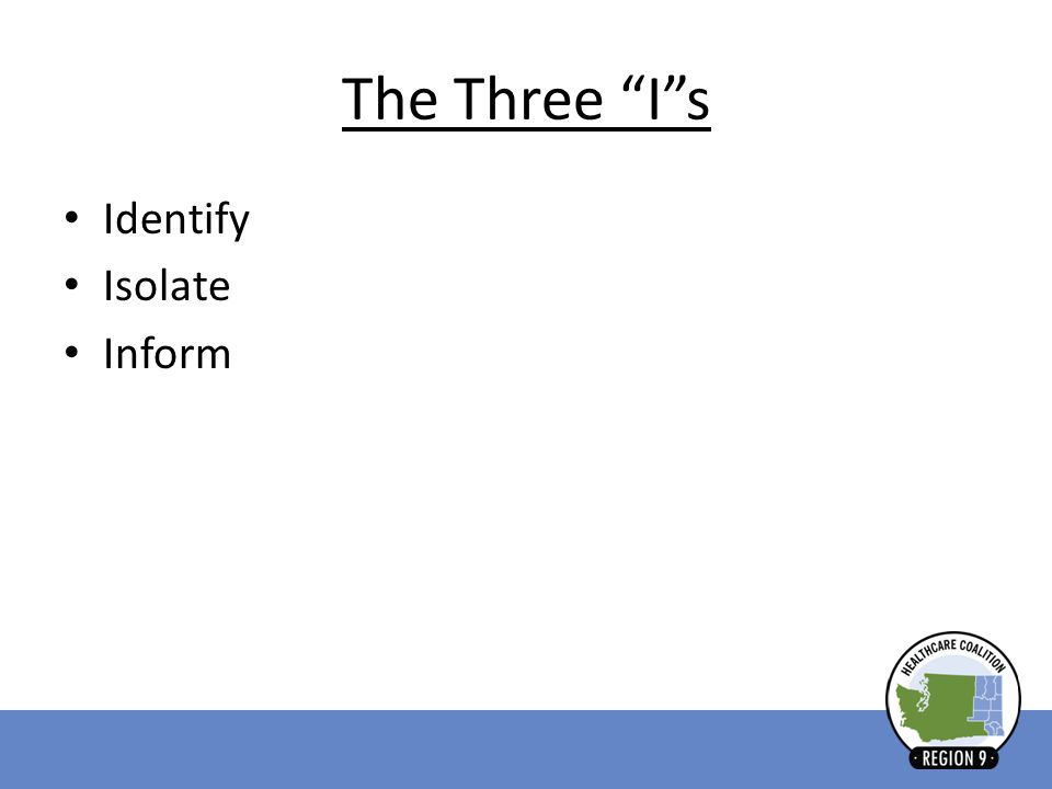 The Three I s Identify Isolate Inform
