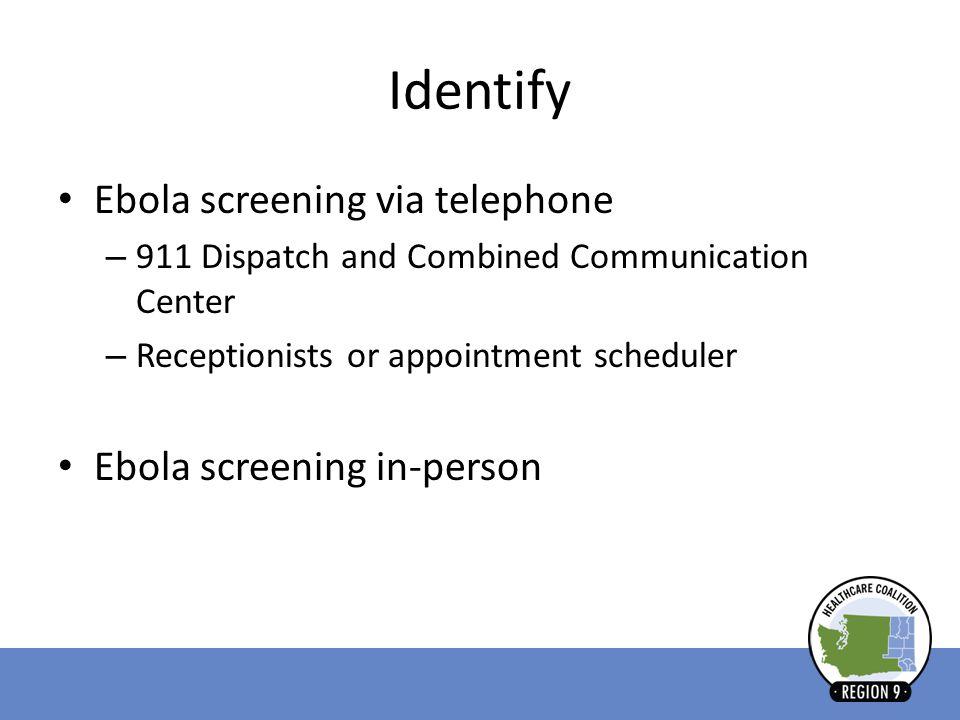 Identify Ebola screening via telephone Ebola screening in-person
