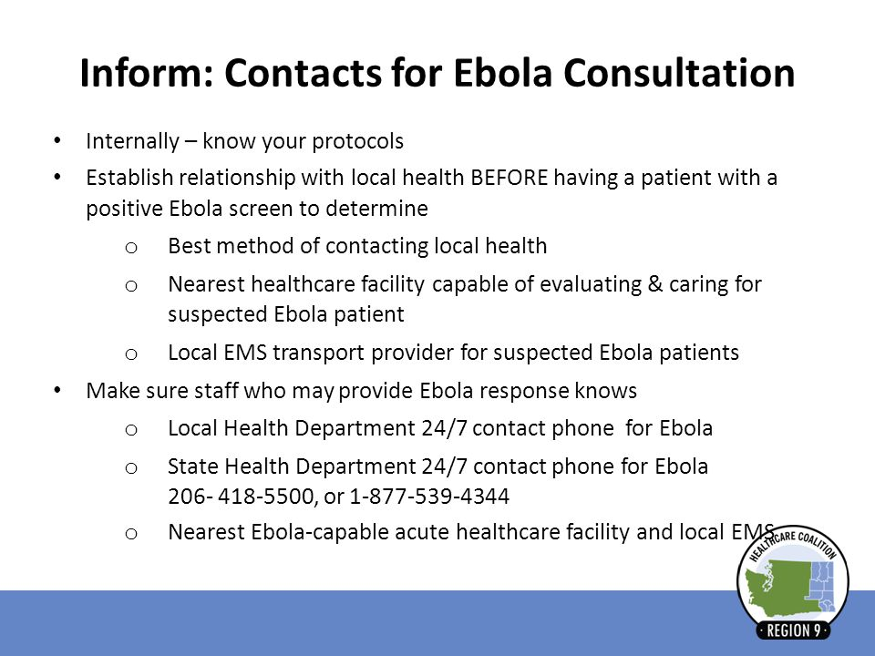 Inform: Contacts for Ebola Consultation