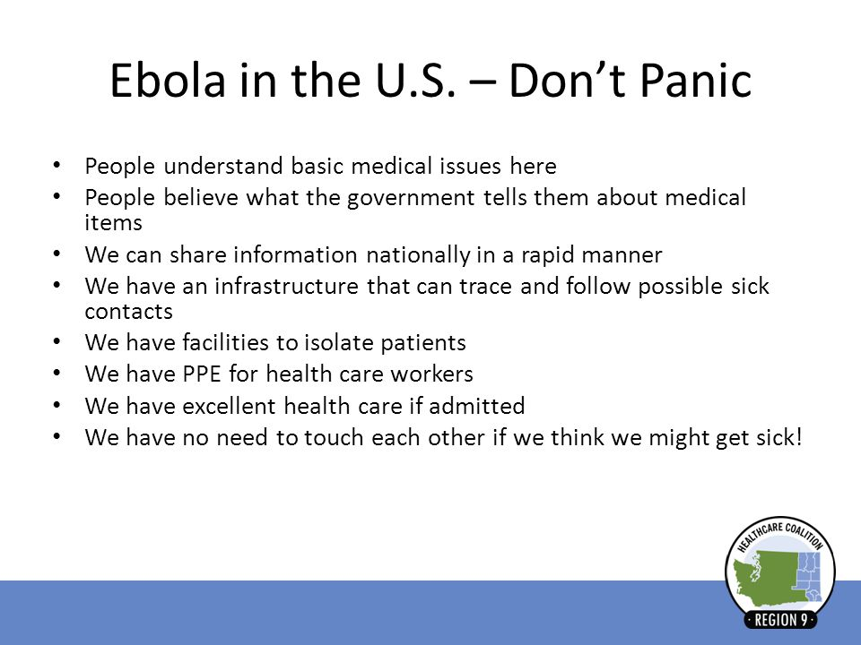 Ebola in the U.S. – Don't Panic
