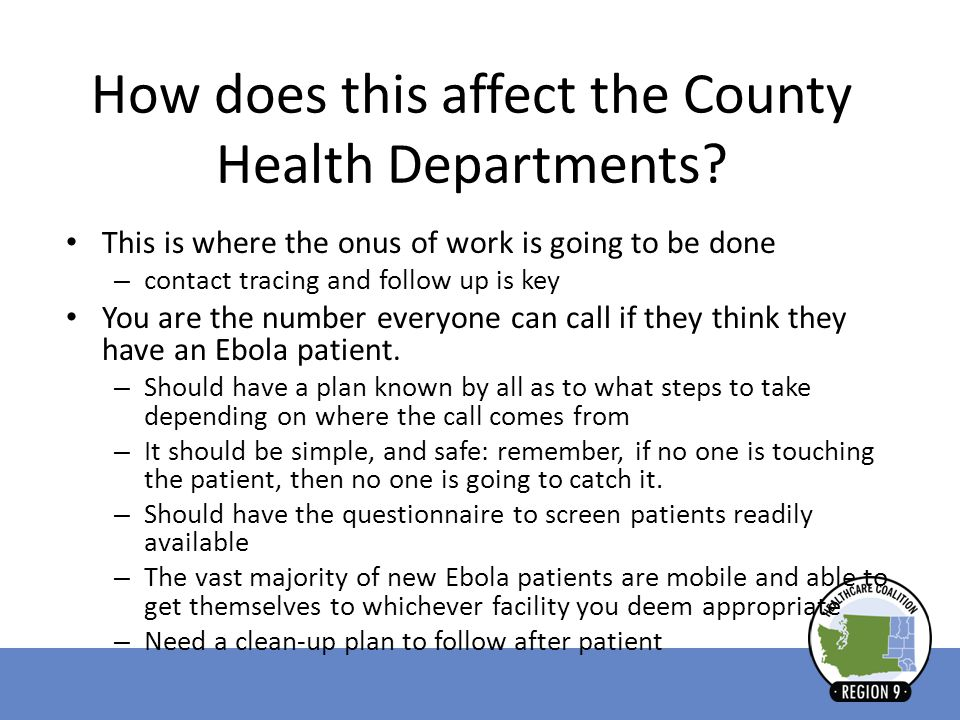 How does this affect the County Health Departments