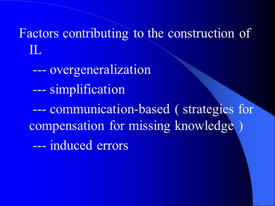 Factors contributing to the construction of IL