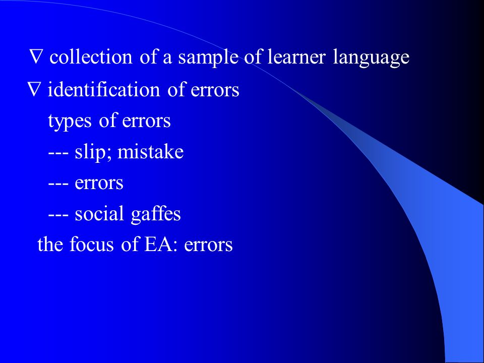  collection of a sample of learner language